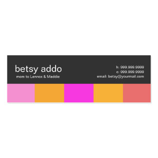 Cool Stripes Mommy Calling Cards Double-Sided Mini Business Cards (Pack Of 20)
