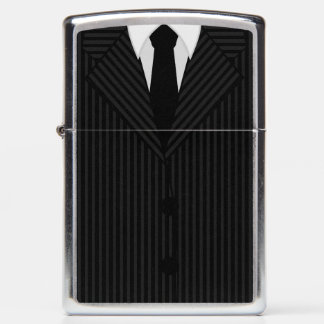 Cool Stylish Black and Gray Pinstripe Suit and Tie Zippo Lighter
