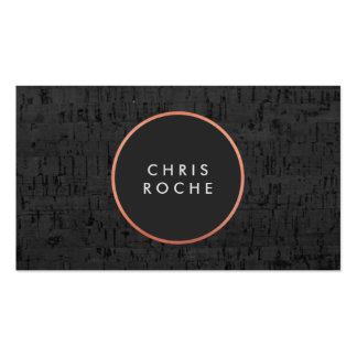 Cool Stylish Copper Circle Emblem Black Cork Board Business Card