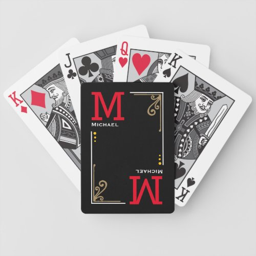 cool stylish player initials _ personalized black bicycle playing cards