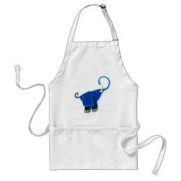 Cool Stylized Blue Elephant Adult Apron