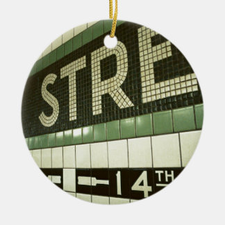 Cool Subway Double-Sided Ceramic Round Christmas Ornament