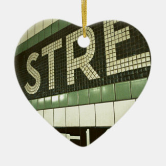 Cool Subway Double-Sided Heart Ceramic Christmas Ornament