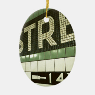 Cool Subway Double-Sided Oval Ceramic Christmas Ornament