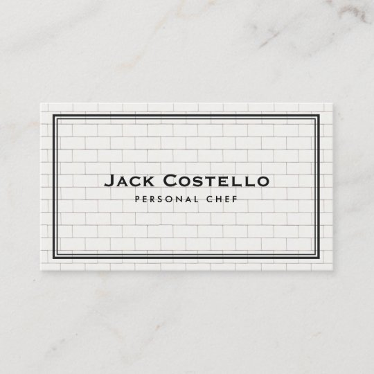 Cool subway tile personal chef catering business card zazzle cool subway tile personal chef catering business card reheart Image collections