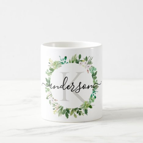 COOL SUCCULENT WREATH FOLIAGE WATERCOLOR MONOGRAM COFFEE MUG