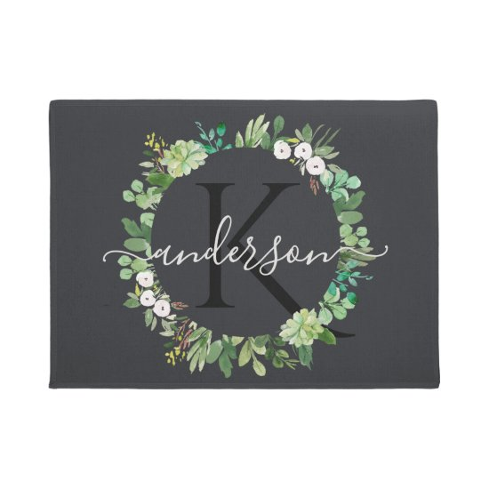 COOL SUCCULENT WREATH FOLIAGE WATERCOLOR MONOGRAM DOORMAT