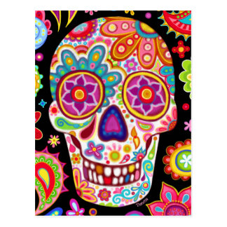 Cool Sugar Skull Art Postcard - Day of the Dead