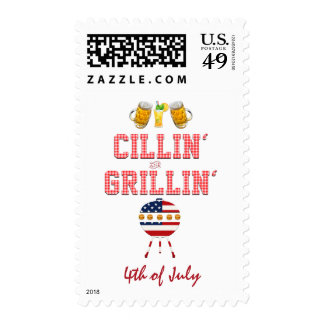 Cool Summer BBQ Cillin' and Grillin' 4th of July Postage