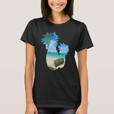 Beach Themed Cool Summer Beach Pineapples Palm Boat And Sea T-Shirt