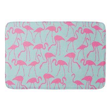 Beach Themed Cool Summer Flamingo Pattern Bathroom Mat