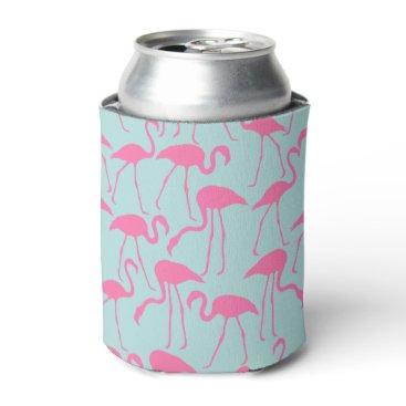 Beach Themed Cool Summer Flamingo Pattern Can Cooler