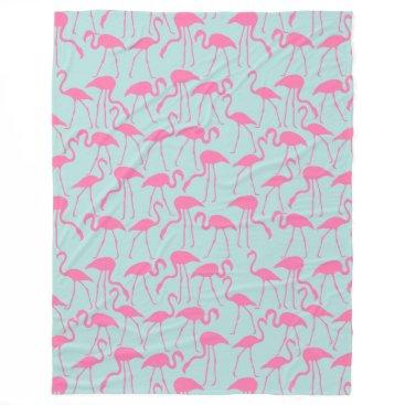 Beach Themed Cool Summer Flamingo Pattern Fleece Blanket