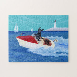 Cool Summer Labradors Painting Jigsaw Puzzle