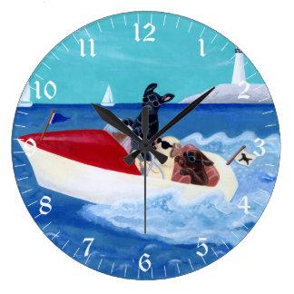 Cool Summer Labradors Painting Large Clock