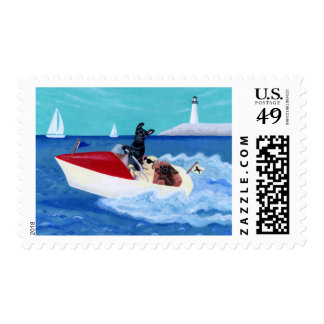 Cool Summer Labradors Painting Postage