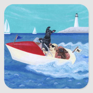 Cool Summer Labradors Painting Square Sticker