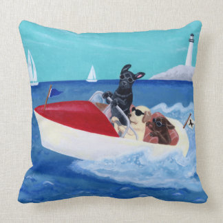 Cool Summer Labradors Painting Throw Pillow