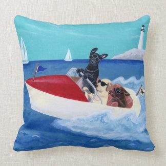 Cool Summer Labradors Painting Throw Pillow