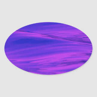 Cool Summer Purple Pink Water Ripples Oval Sticker
