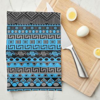 Cool summer trendy neon blue Aztec pattern Towels
