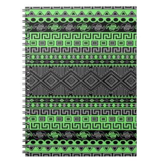 Cool summer trendy neon green grey black Aztec Spiral Notebook