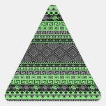 Cool summer trendy neon green grey black Aztec Triangle Sticker