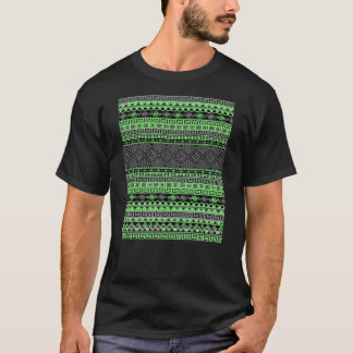Cool summer trendy neon green grey black Aztec T-Shirt
