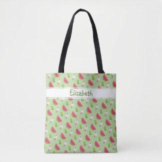 Cool Summer Trendy Watermelon Fashion Print Name Tote Bag