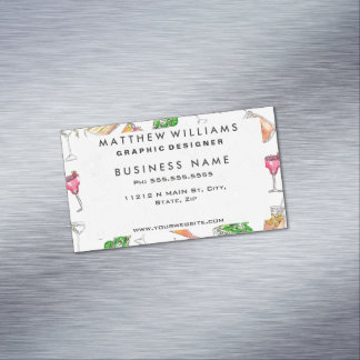Cool Summer Watercolor Painted Mixed Drinks Patter Magnetic Business Card