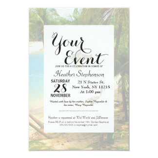 Cool Summery Anchor and Tropical Beach Scene 3.5x5 Paper Invitation Card