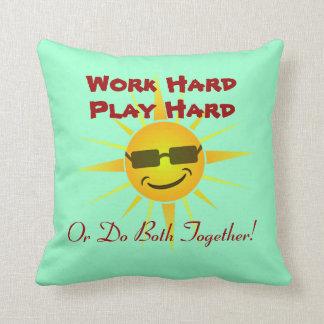 Cool Sun Face Sunshine Work Hard Play Hard Saying Throw Pillow