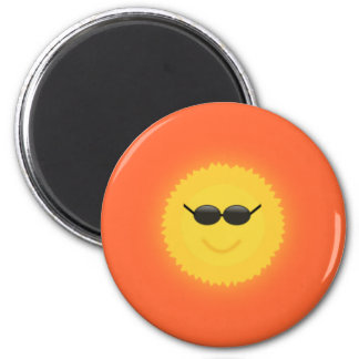 Cool sun with sunglasses in a cool sunny day 2 inch round magnet