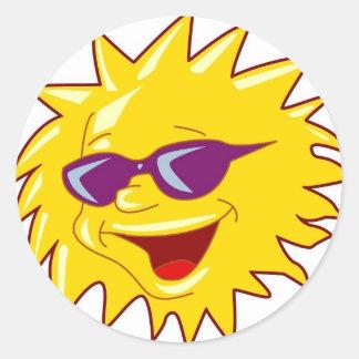 Cool Sun with Sunglasses Classic Round Sticker