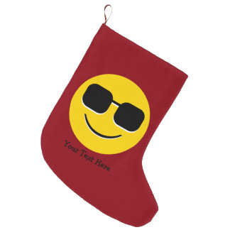 Cool Sunglasses Emoji Guy Large Christmas Stocking