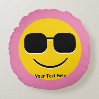 Cool Sunglasses Emoji Guy Round Pillow