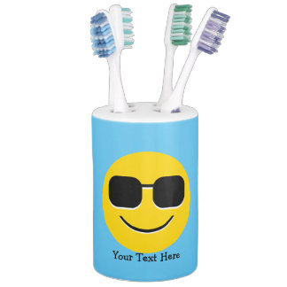Cool Sunglasses Emoji Soap Dispenser And Toothbrush Holder