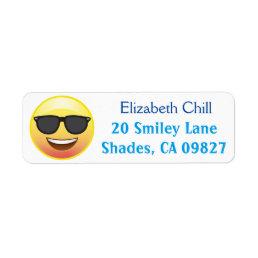 Cool Sunglasses Happy Emoji Return Address Label