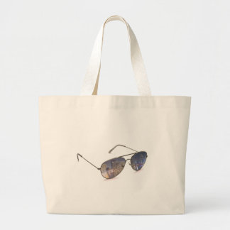 cool sunglasses with cityscape reflection bag