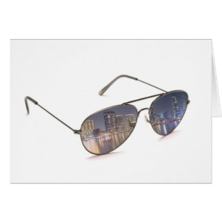 cool sunglasses with cityscape reflection card