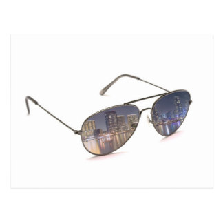 cool sunglasses with cityscape reflection postcard