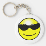 Cool Sunglasses Yellow Smiley Face Basic Round Button Keychain