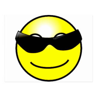 Cool Sunglasses Yellow Smiley Face Postcard