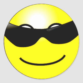 Cool Sunglasses Yellow Smiley Face Classic Round Sticker