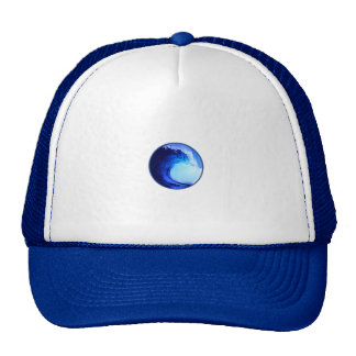 cool surf style blue wave mesh hats