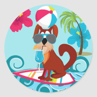 Cool Surfer Dog Surfboard Summer Beach Party Fun Classic Round Sticker