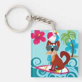 Cool Surfer Dog Surfboard Summer Beach Party Fun Keychain