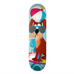 Cool Surfer Dog Surfboard Summer Beach Party Fun Custom Skate Board