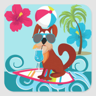 Cool Surfer Dog Surfboard Summer Beach Party Fun Square Sticker