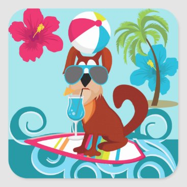 Beach Themed Cool Surfer Dog Surfboard Summer Beach Party Fun Square Sticker
